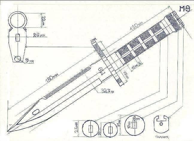 Штык нож кс го чертеж