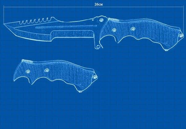 Чертеж охотничьего ножа в кс го